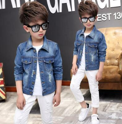 Kids Boys Girls Casual Ripped Denim Jacket Trench Biker Jeans Coat Fashion Tops