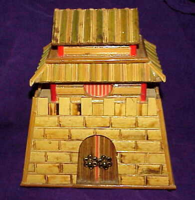 very nice vintage Still Piggy BANK Figural Chinese Fort House -shellacked bamboo