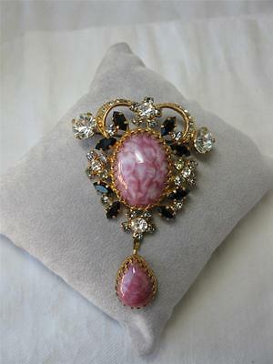 Austrian Crystal Art Deco Brooch Gorgeous Pink Art Glass Pendant Form c1930 Rare