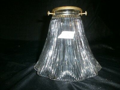 Vintage holophane Light Shade. Prismatic glass, Loft, Industrial ribbed.Clear. X