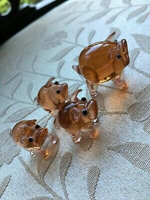 Cute Glass Set Of 4 PIGs Orange Glass Ornament Glass Animal Gift Unknown Maker