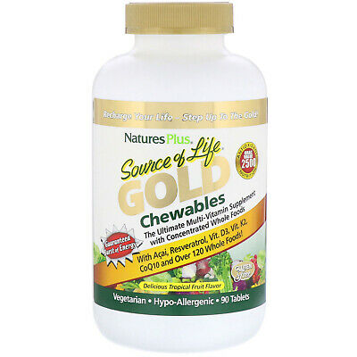 Nature's Plus, Source of Life, Gold Chewables, Delicious Tropical Fruit Flavo...