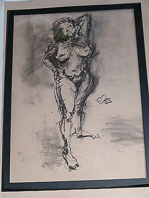 Figure life drawing nude expressive charcoal / paper, woman standing, A1 size @