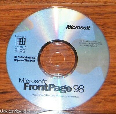 Microsoft FrontPage 98 (For Windows) Disc ONLY Professional Looking Websites