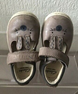 Baby Girls Toddler Clarks T-Bar Hook & Loop Leather First Shoes Little Glo