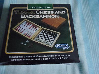 Gibsons Classic Game Travel Chess and Backgammon new