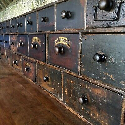 Large Bank Of Restored Victorian Apothecary Shop Drawers Vintage
