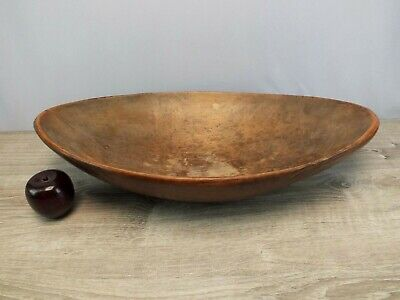 """Huge 1800s Antique 24"""" Wood Dough Bowl Trencher Primitive Tapered Oval Form"""