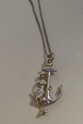 """Made in USA 6.6g Sterling Silver BARRACUDA FISH 3D Solid Pendant 18/"""" Box Chain"""