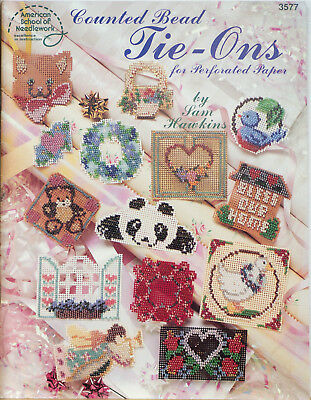 American School Of Needlework Counted Bead Tie Ons Pattern 3577 Perforated Paper