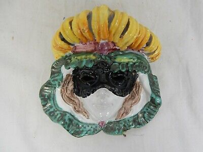 Beautiful pottery wall mask Commedia dell`arte ITALY Perseo#San Polo#Morini Nr.1