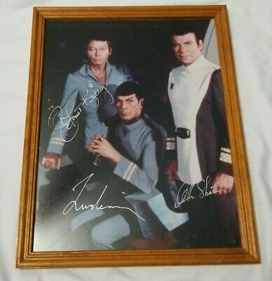 William Shatner Leonard Nimoy Deforest Kelley autographed Photo Star Trek 11x14