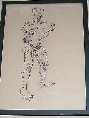 Figure life drawing nude expressive, charcoal / paper, man standing, A1 size @