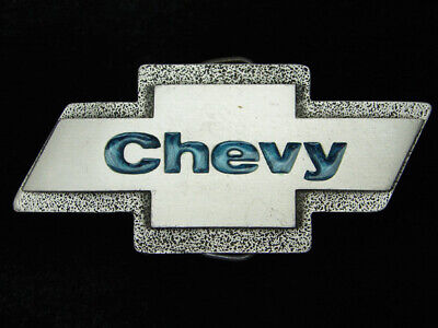 Qa15138 Vintage 1980 **Chevy Emblem** Car Auto Company Pewter Belt Buckle