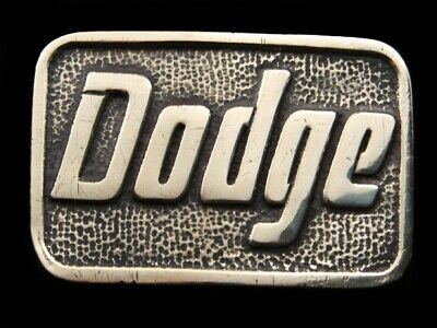 RH05155 VINTAGE 1970s **DODGE** CAR COMPANY ADVERTISEMENT SOLID BRASS BTS BUCKLE