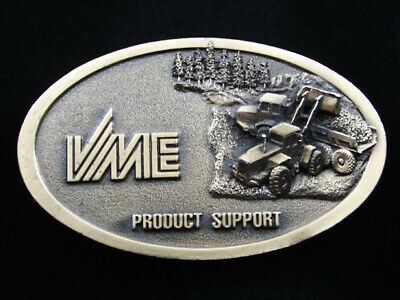 RH05112 VINTAGE 1970s **VME** FORESTRY EQUIPMENT ADVERTISEMENT BELT BUCKLE