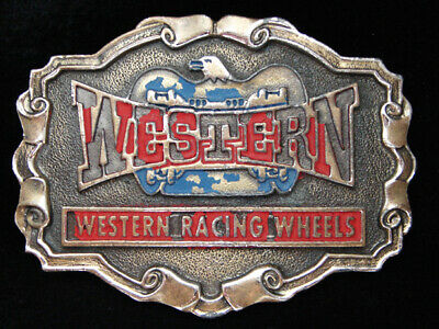 PF09139 VINTAGE 1970s **WESTERN RACING WHEELS** BRASSTONE BELT BUCKLE
