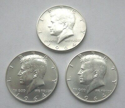 Lot of3 Kennedy Silver HalfDollars - 90% silver,coins dated 1964&1964 D.