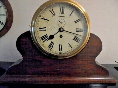 large victorian brass mounted  ships clock
