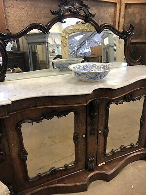 Antique c1830 Regency rosewood chiffonier marble top (with detachable mirror)