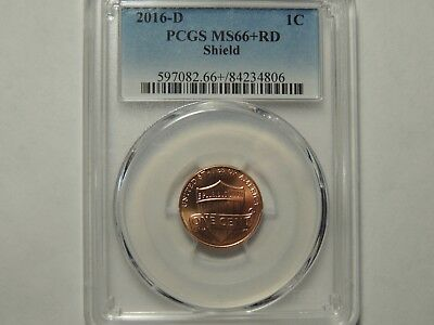 2016 D PCGS MS66RD+  Lincoln Shield Penny 1 cent