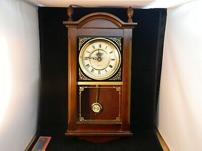President wall pendulum clock Antique Style Vintage Made in Korea Wood Brass