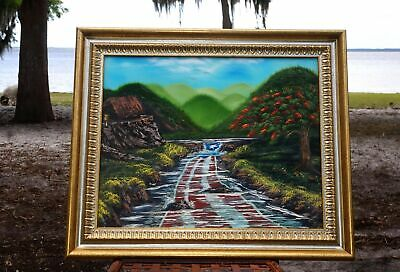 Puerto Rican River Flow Mountain Scene Oil on Canvas Painting Signed By Artist