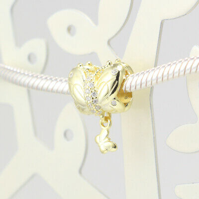 Authentic Pandora Charms 925 ALE Sterling Silver Gold Cubic Zirconia Bead Charm