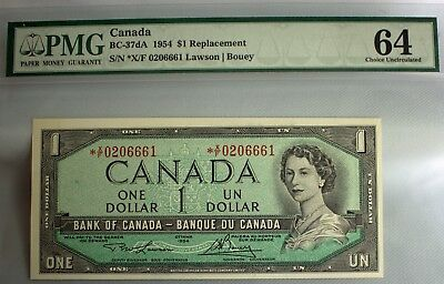 1954 $1 Replacement Canada Note Uncirculated PMG *X/F0206661 Lawson Bouey
