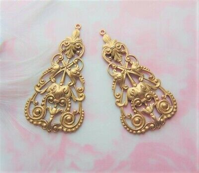 Boho Earring Drops Filigree Stamping 2 Pieces ANTIQUE SILVER C-107