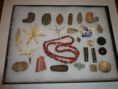 Indian Artifacts - Gorgets, Trade Beads, and Pipes