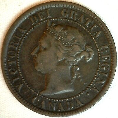 1884 Copper Canadian Large Cent One Cent Coin Very Fine #24