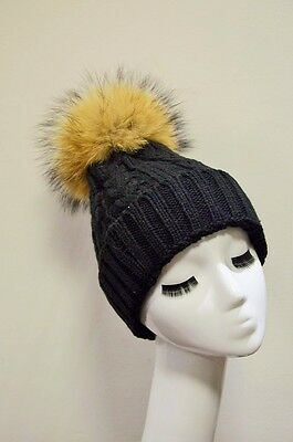Black Twist Cable Knit Real Fur Pom Pom Beanie Luxury Wool Ski Winter Bobble Hat