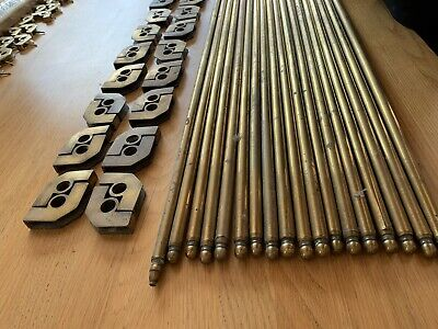 17 x Brass Stair Rods With 18 x Sets of Brackets 76.5cm Long