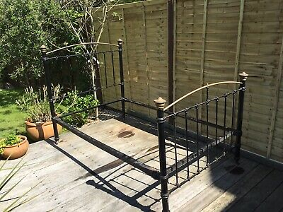 Victorian Black Iron And Brass Small Double Bed