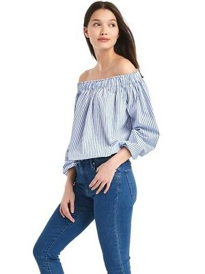 617e4201149f26 NEW GAP Womens Striped Off-Shoulder Top Shirt Blouse Blue White Sizes M, L