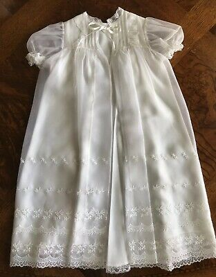 Vintage Baby Christening Dedication Gown Lined Robe Embroidered Flower Lace