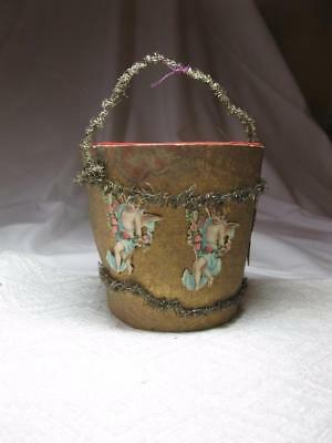 German Angel Dresden Sebnitz Candy Container Pail Ornament 1910 Christmas