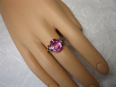 Art Deco Engagement Wedding Ring 5.75CT Synthetic Pink Sapphire 10K Gold