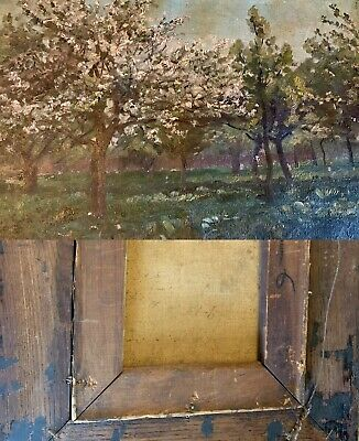 Trees In Bloom Antique Oil painting Impressionist Style 19th Century Old