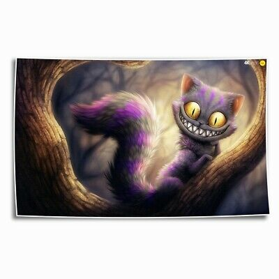 Cat Alice Wonderland HD Canvas prints Painting Home Decor Picture Room Wall art