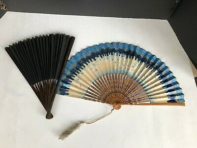 Antique Chinese Qing Hand Painted Fan With Flowers and Black Fan
