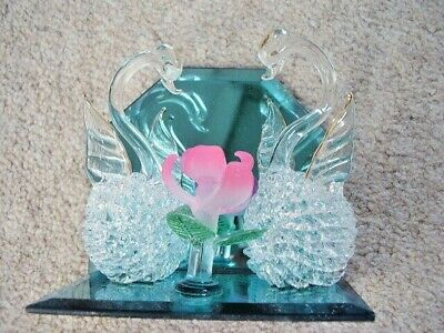 Glass-crystal glass SWANs with flower  Figurine-ornament,boxed