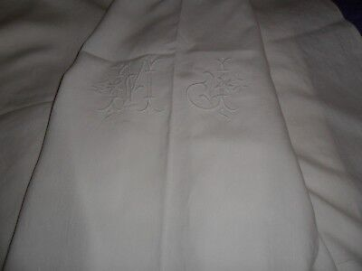 """Antique French long pure linen sheet.Hand made monogramm """"M.J""""."""