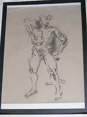 Figure life drawing nude expressive charcoal / paper, man standing, >A2 size @