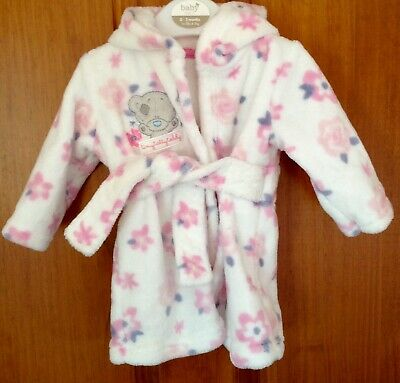TINY TATTY TEDDY Baby Girls Soft White Floral Dressing Gown & Hood 0-3 Months