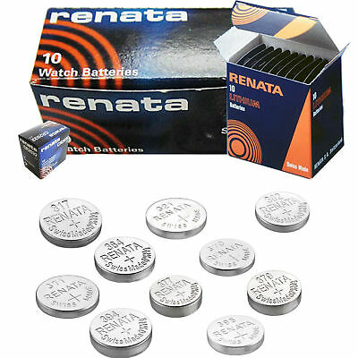 10 x Renata Watch Battery Swiss Made Silver Oxide Batteries Free P&P