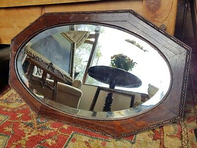 antique art deco oval oak bevelled mirror,slightly silvered