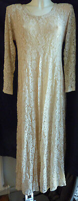 💝 Vintage ISHA Beige Lace Abigails Party Cocktail Dress 1960's
