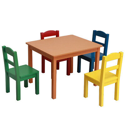 5PCS Kids Wood Dining study Table and Chairs Set Kitchen Dining Room Furniture